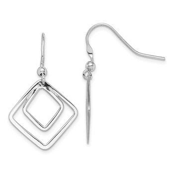 Sterling Silver Rhodium-plated Diamond Shape Dangle Earrings