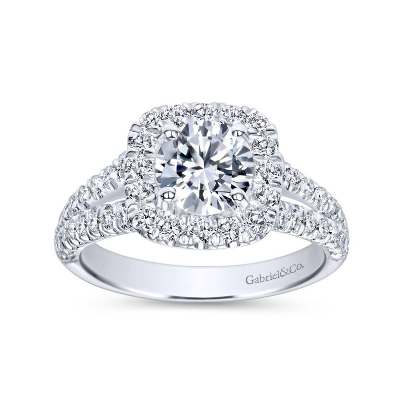 Gabriel Bridal Top Picks 14K White Gold Cushion Halo Round Diamond Engagement Ring