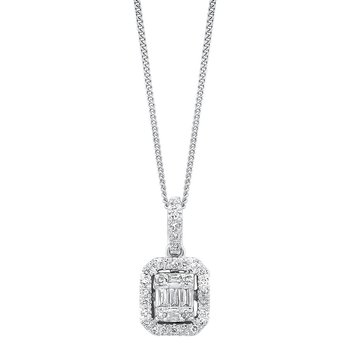 Diamond Rectangular Halo Drop Pendant Necklace in 14k White Gold (1/2ctw)