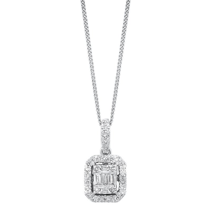 Gems One  Diamond Rectangular Halo Drop Pendant Necklace in 14k White Gold (1/2ctw)