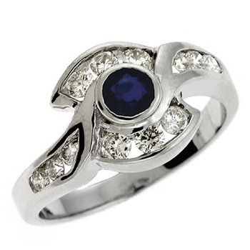 Sapp./ Dia White Gold Ring