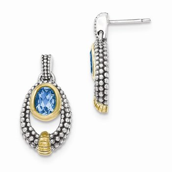 Sterling Silver w/Gold Flash-plating Light Swiss Blue Topaz Dangle Earrings