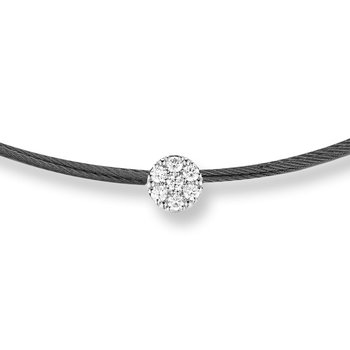 Black Cable Disco Choker Necklace with 18kt White Gold & Diamonds