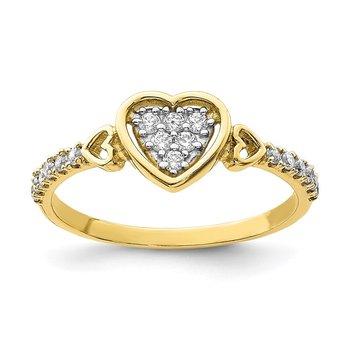 10K CZ Fancy Heart Ring