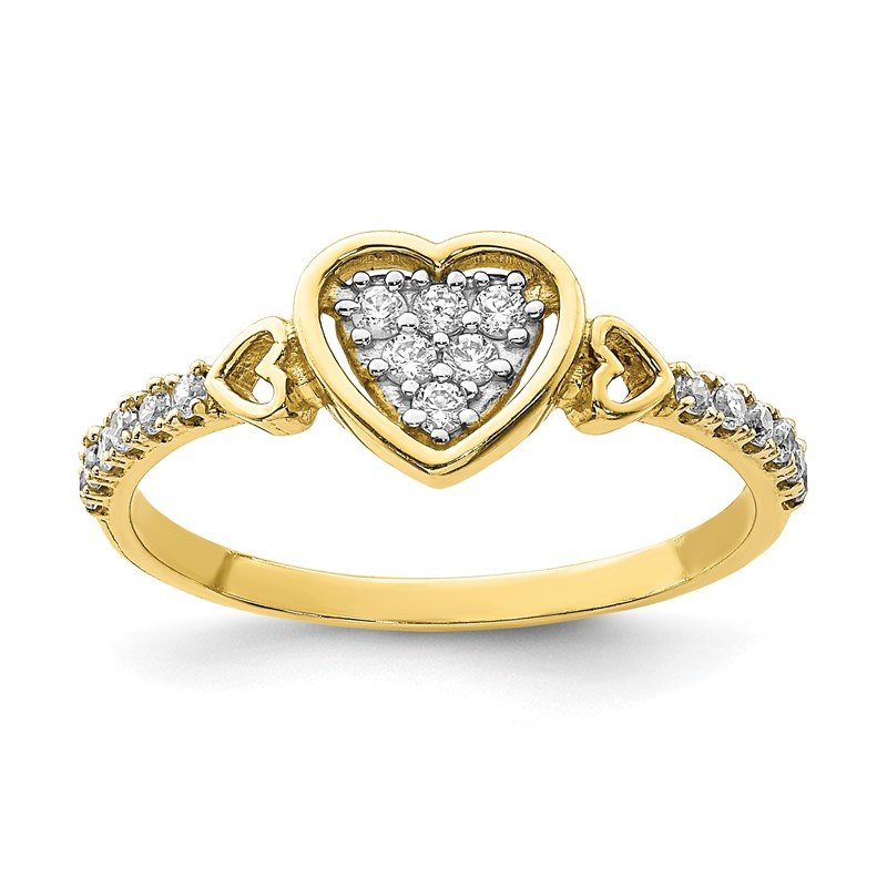 Quality Gold 10K CZ Fancy Heart Ring