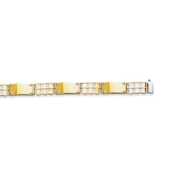14K Two-tone Gold Railroad Link with Screw Detail Chain