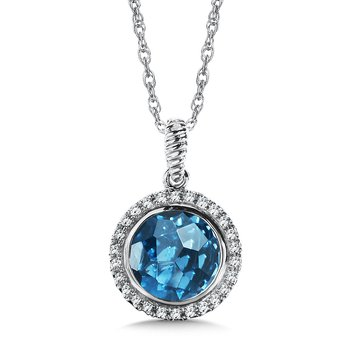 London Blue Topaz & Diamond Layering Pendant in 14K White Gold