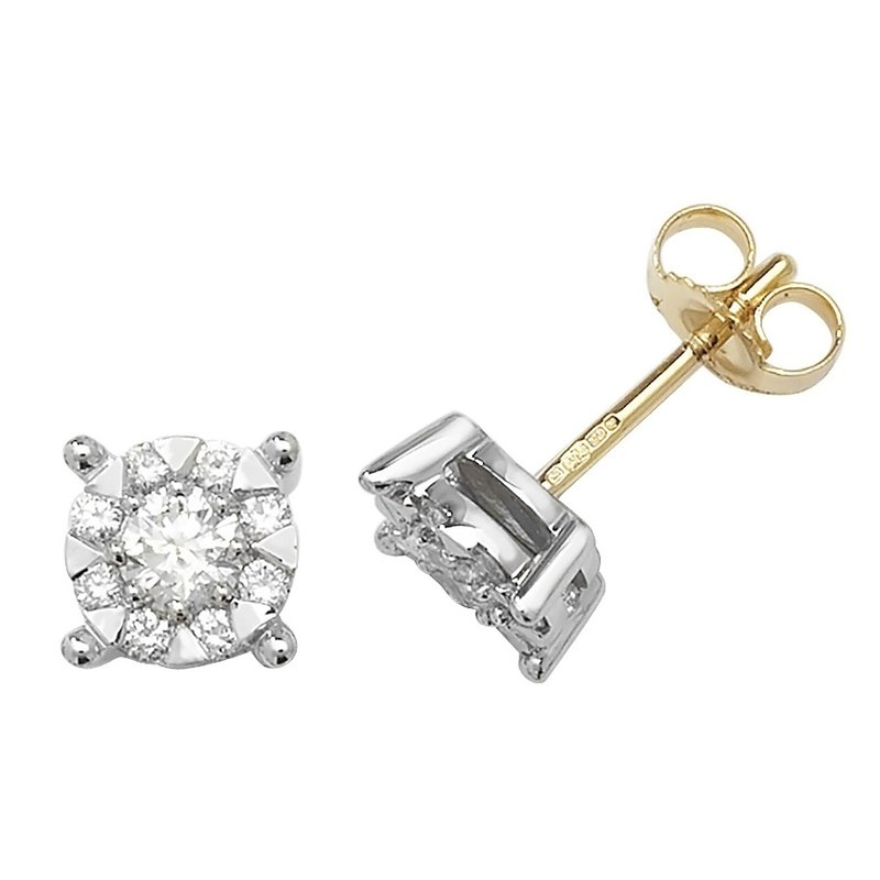 Treasure 9Ct Yellow Gold 2X6.8mm Diamond Stud Earrings