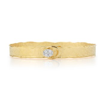 14K-Y OVAL BUTTON CUFF BR., 0.25CT