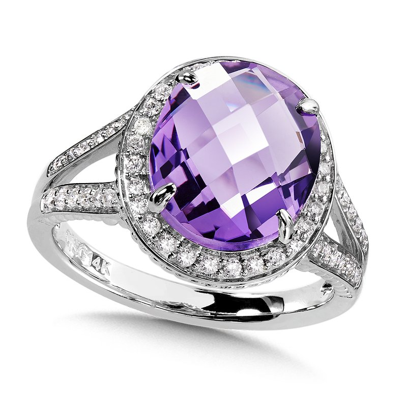Amethyst & Diamond Statement Ring in 14K White Gold