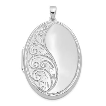 Sterling Silver Rhodium-plated 38mm Scroll Oval Locket