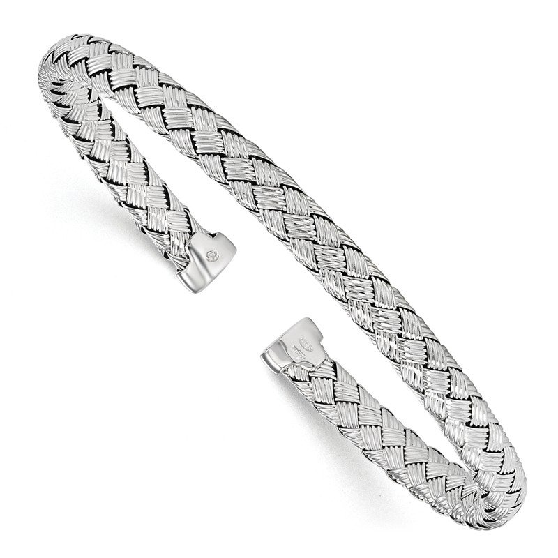 Leslie's Leslie's Sterling Silver Polished Woven Cuff Bangle
