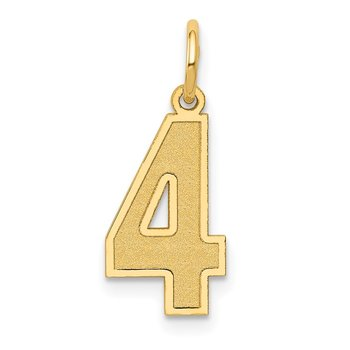 14k Medium Satin Number 4 Charm