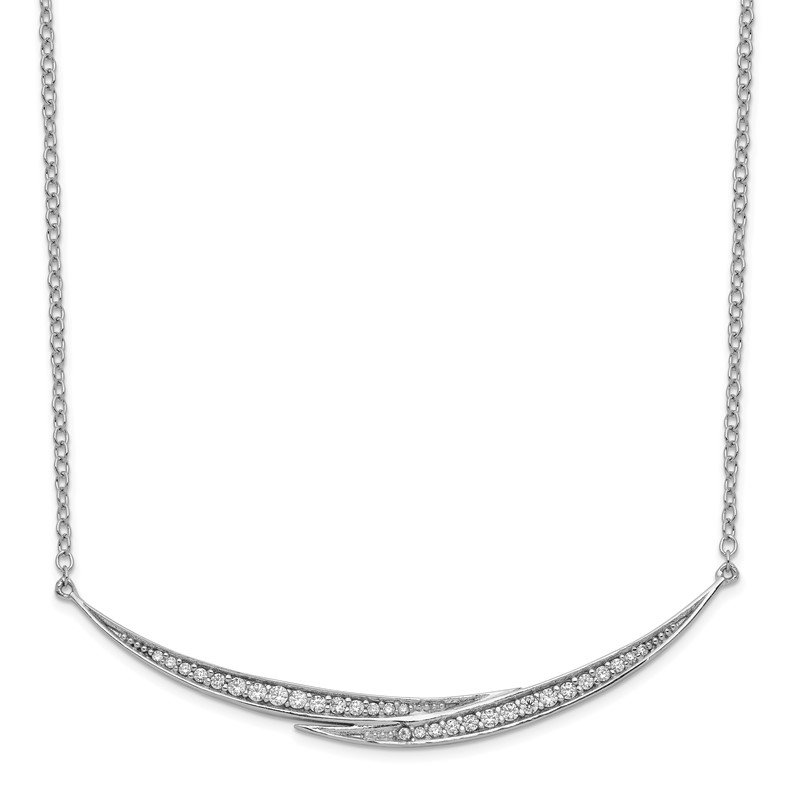 Quality Gold Sterling Silver Rhodium-plated CZ Crescent Bars w/2in ext Necklace