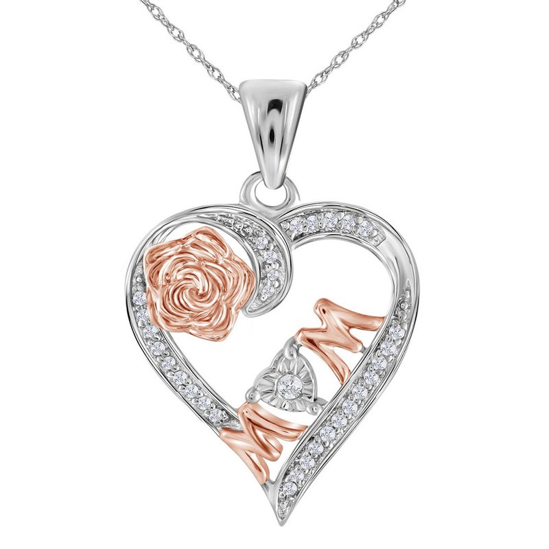 Gold-N-Diamonds, Inc. (Atlanta) Sterling Silver Womens Round Diamond Rose-tone Mom Mother Heart Pendant 1/8 Cttw