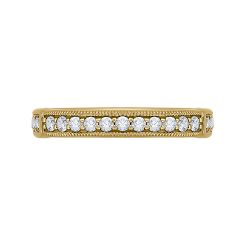 18K Yellow Gold Round and Princess Diamond Wedding Band