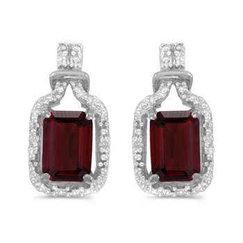 10k White Gold Emerald-cut Garnet And Diamond Earrings