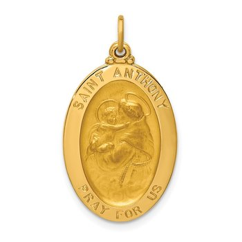 14k Solid Polished/Satin Oval St. Anthony Medal