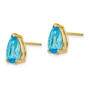 14k 10x7mm Pear Blue Topaz Earrings