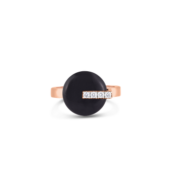 18KT GOLD DISC RING WITH DIAMONDS AND BLACK JADE