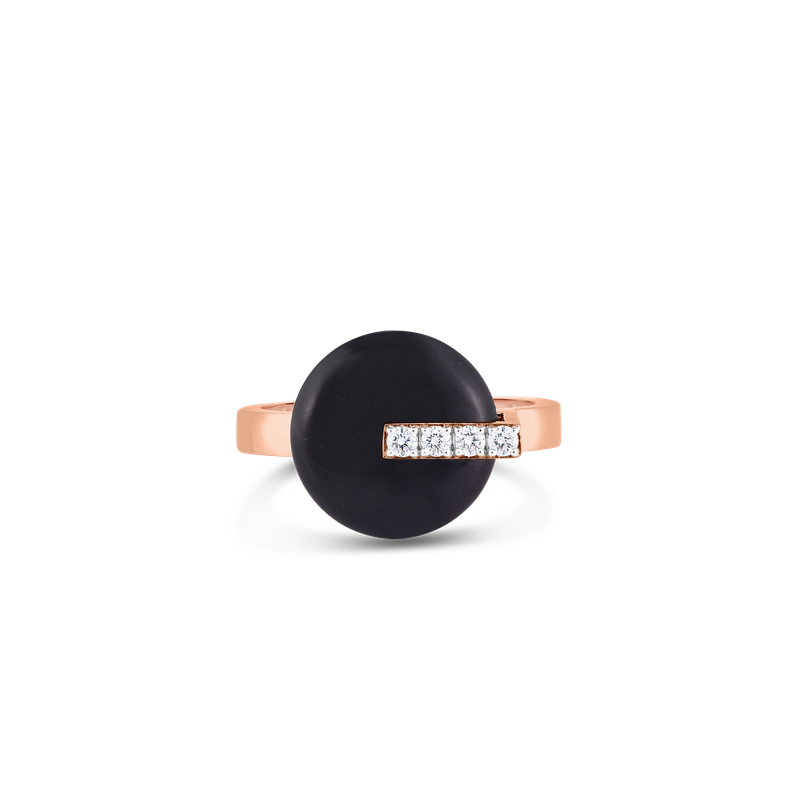 Roberto Coin 18KT GOLD DISC RING WITH DIAMONDS AND BLACK JADE