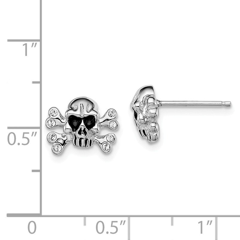 Quality Gold Sterling Silver Rhodium-plated Madi K w/Swarovski Skull Post Earrings