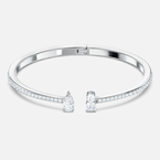 Attract Cuff, White, Rhodium plated