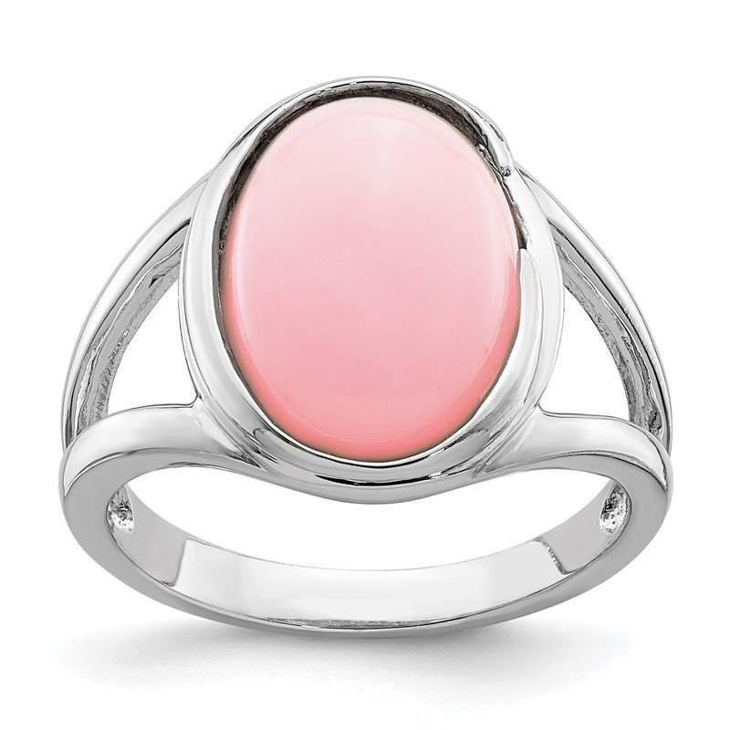 JC Sipe Essentials Sterling Silver Rhodium-plated Cabochon Pink Opal Ring