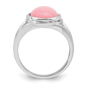 Sterling Silver Rhodium-plated Cabochon Pink Opal Ring