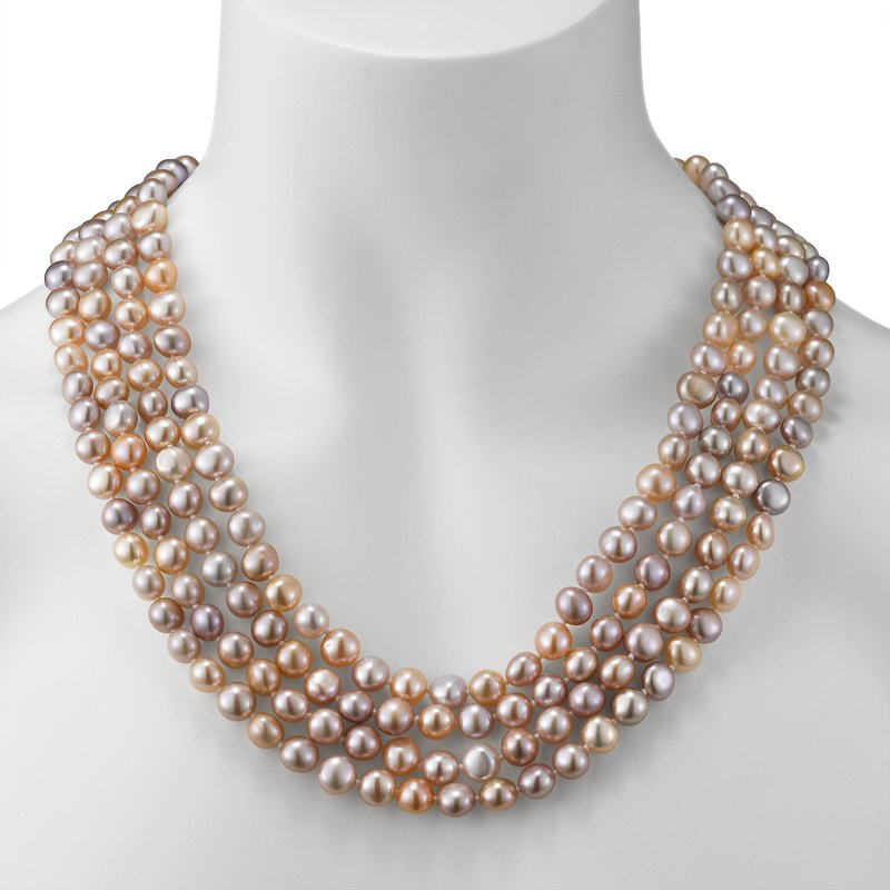 Endless Style Multicolor Baroque Freshwater Pearl Strand Necklace