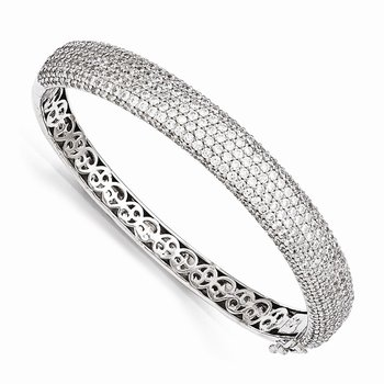 Sterling Silver Pav? Rhodium-plated 384 Stone CZ Hinged Bangle