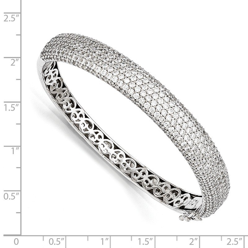 Quality Gold Sterling Silver Pav? Rhodium-plated 384 Stone CZ Hinged Bangle
