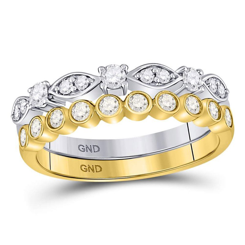 Gold-N-Diamonds 10kt Two-tone Gold Womens Round Diamond 2-piece Stackable Band Ring 1/2 Cttw