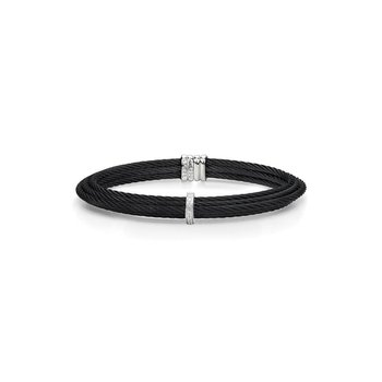 Black Cable Tiered Stackable Bracelet with Single Diamond Station set in 18kt White Gold