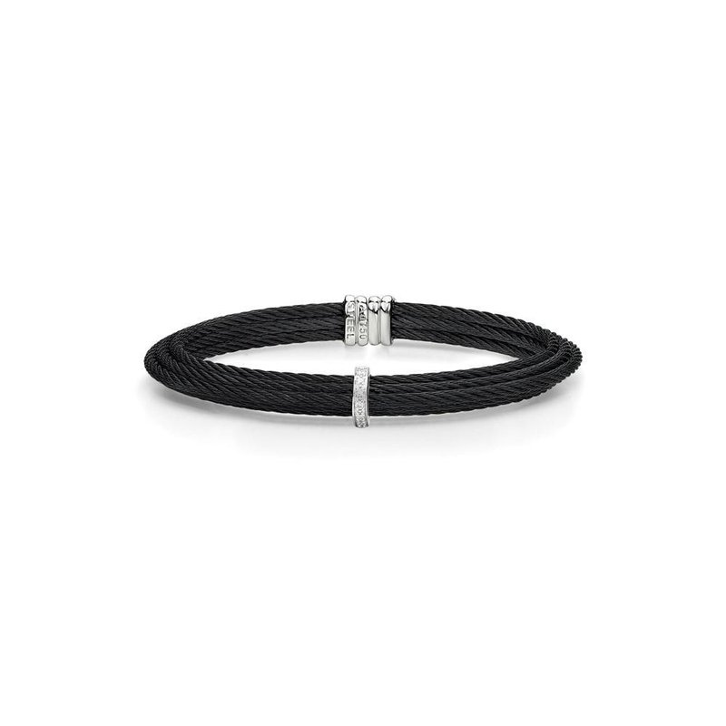 ALOR Black Cable Tiered Stackable Bracelet with Single Diamond Station set in 18kt White Gold