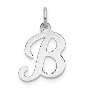 14KW White Gold Script Letter B Initial Charm