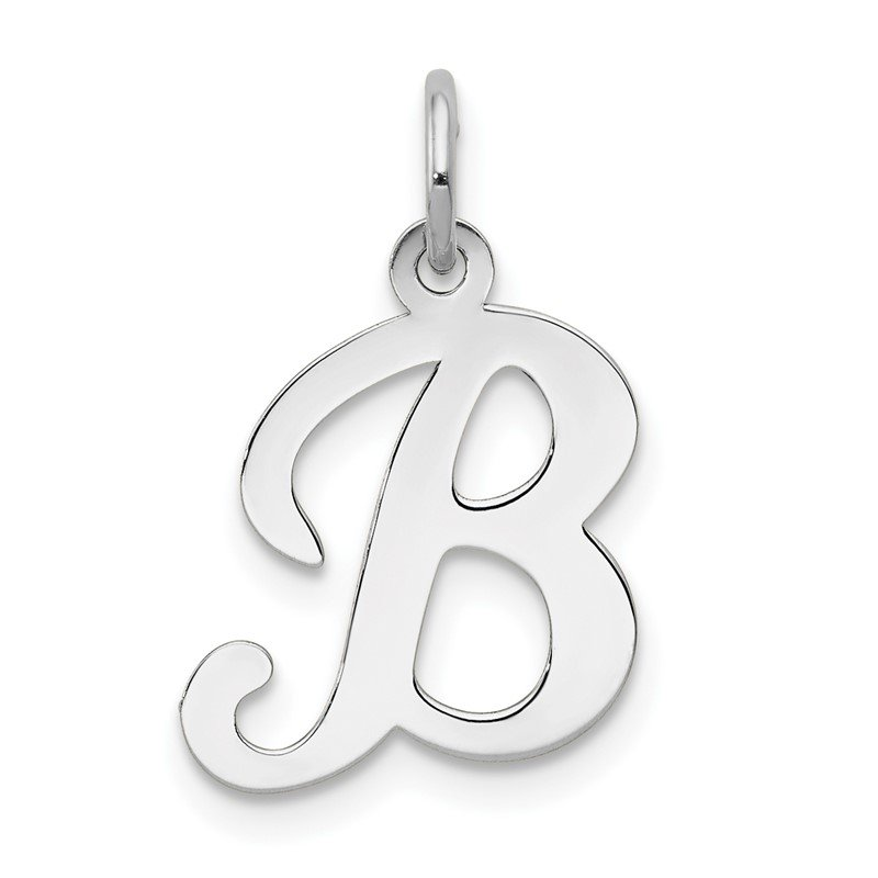 Quality Gold 14KW White Gold Script Letter B Initial Charm