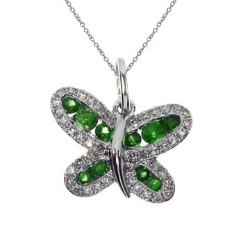 14k White Gold Emerald Butterfly Pendant