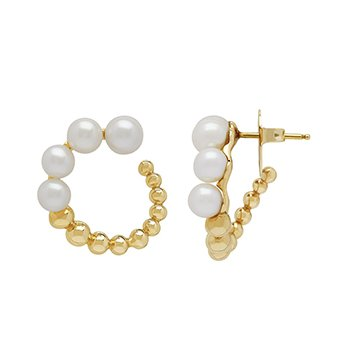 Honora 14KY 4.5-6.5mm White Round Freshwater Cultured Pearl Pebble Hoop Earrings