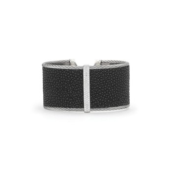 Black Stingray Cuff with Grey Cable, 18kt White Gold & Diamonds