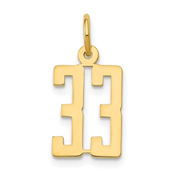 14k Small Polished Elongated 33 Charm