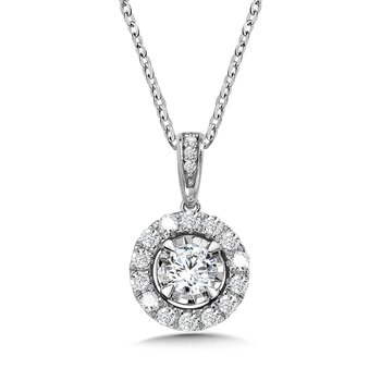 Diamond Star Round Halo Pendant