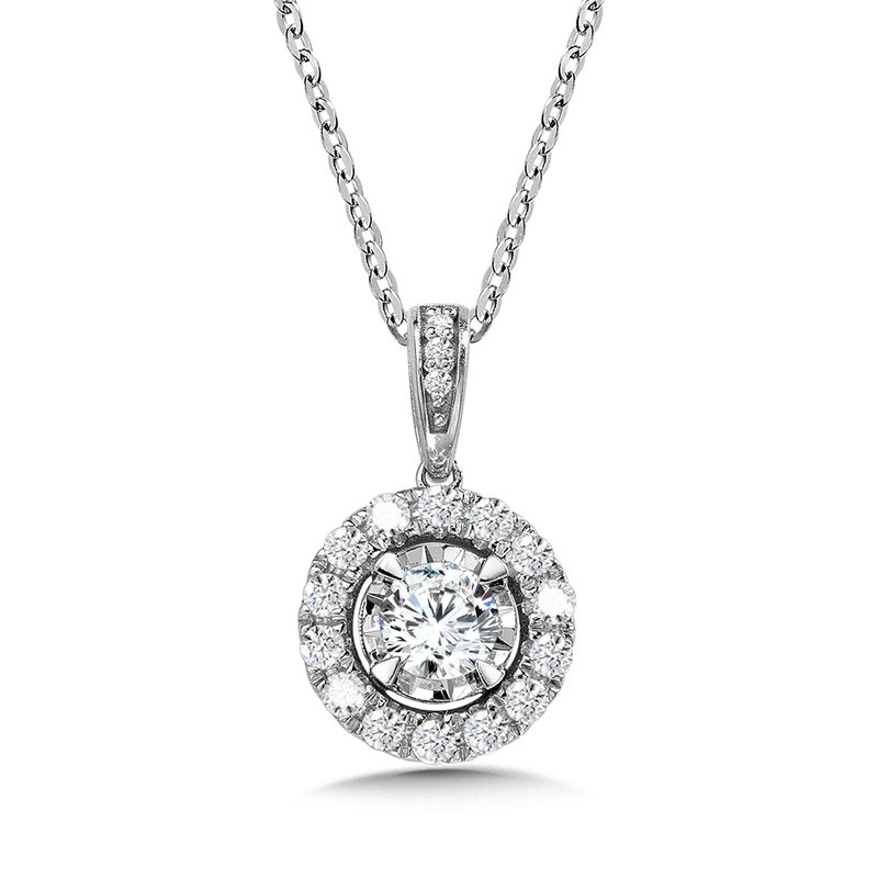 SDC Creations Diamond Star Round Halo Pendant