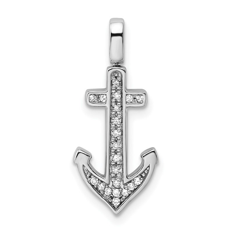Quality Gold Sterling Silver Rhodium 0.2ct. Blk &Wht Dia. Reversible Anchor Pendant