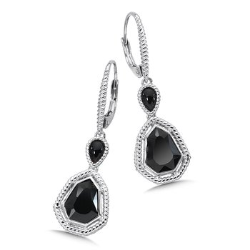 Sterling Silver Onyx Lever back Earrings
