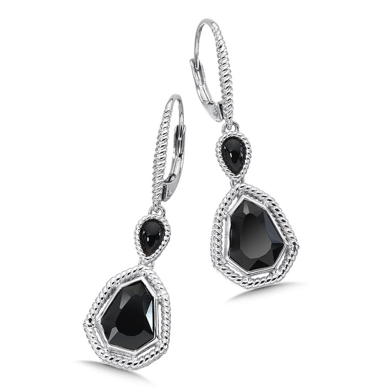 Colore Sg Sterling Silver Onyx Lever back Earrings