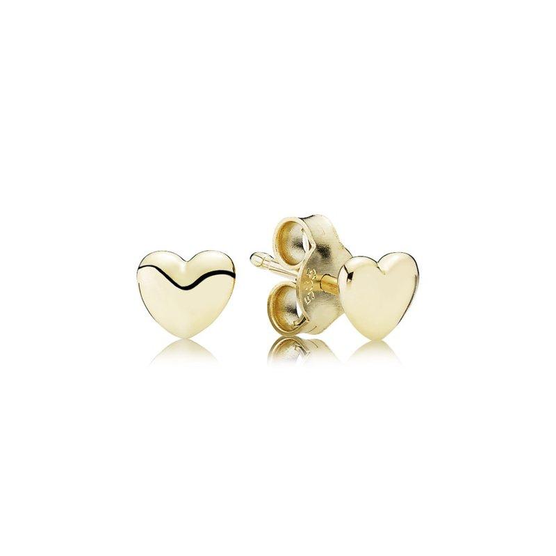 Pandora Pee Heart Stud Earrings 14k Gold