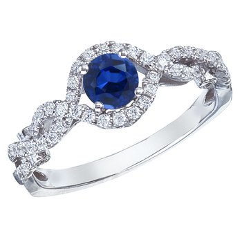 14k White Gold Sapphire and Diamond Braid Ring