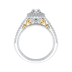 Promezza Round Diamond Double Halo Engagement Ring In 14K Two-Tone Gold