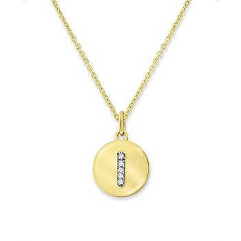 "Diamond Mini Disc Initial ""I"" Necklace in 14k Yellow Gold with 5 Diamonds weighing .02ct tw."